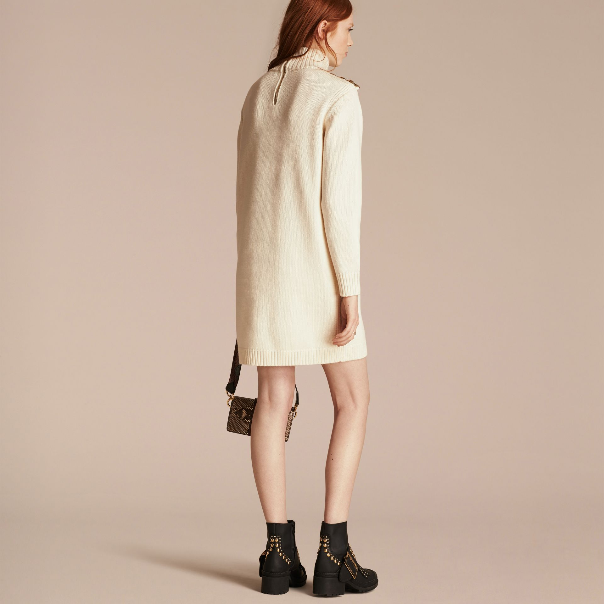 Natural white Regimental Detail Wool Cashmere High-neck Dress - gallery image 3