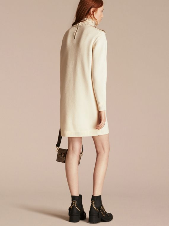 Natural white Regimental Detail Wool Cashmere High-neck Dress - cell image 2