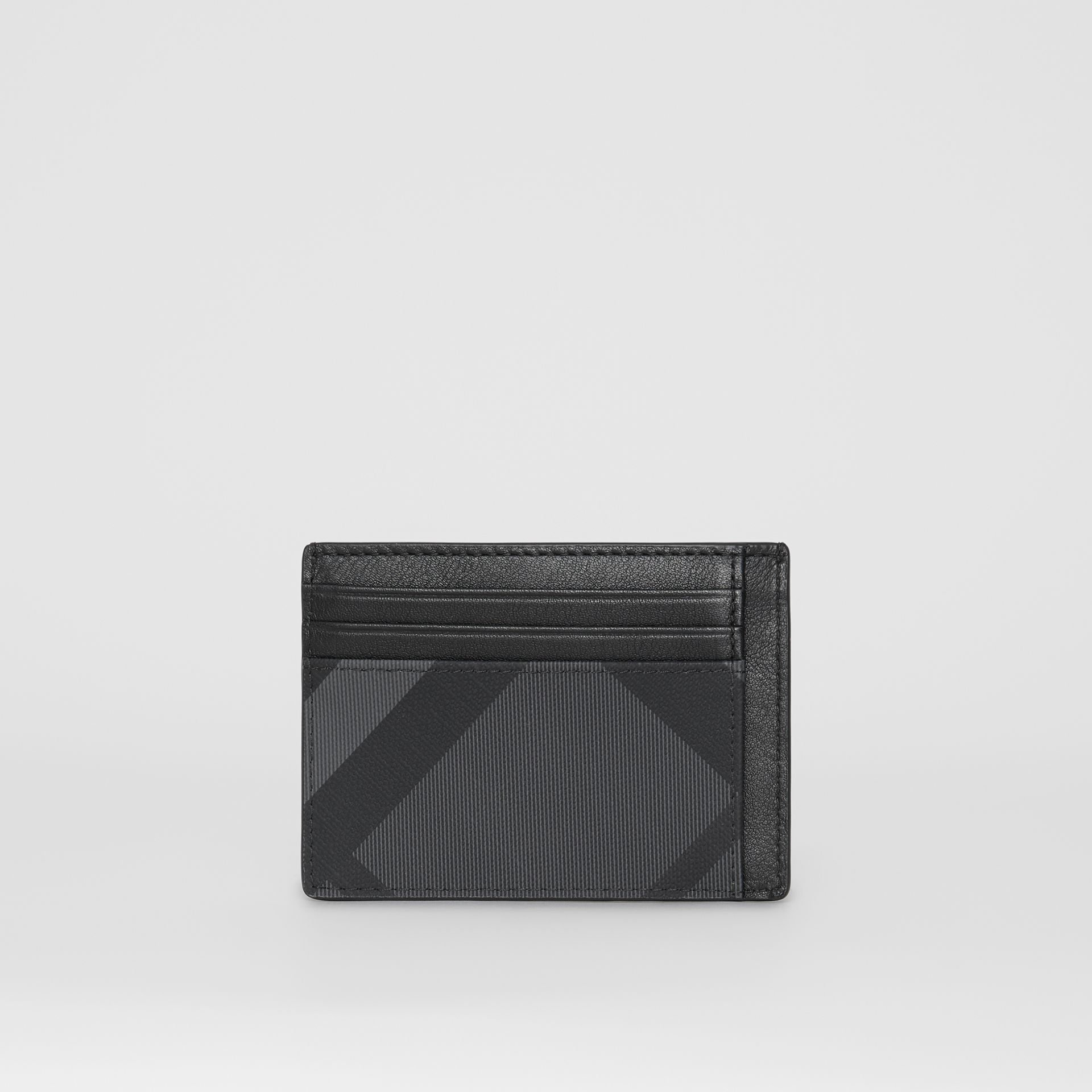 London Check and Leather Card Case in Charcoal/black - Men | Burberry Australia - gallery image 4