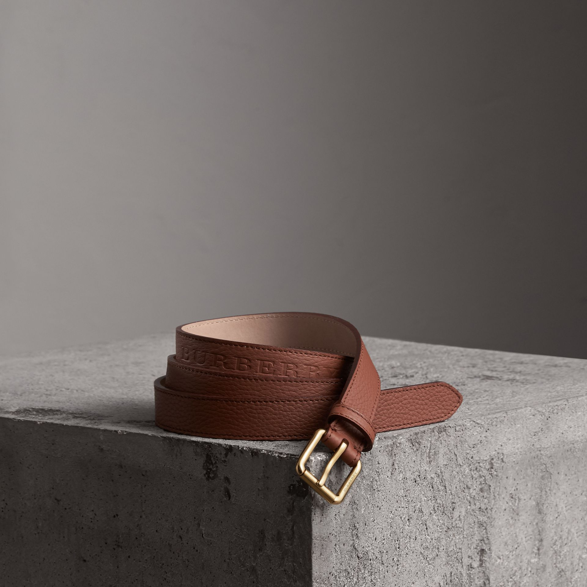 Embossed Leather Belt in Chestnut Brown - Women | Burberry - gallery image 0