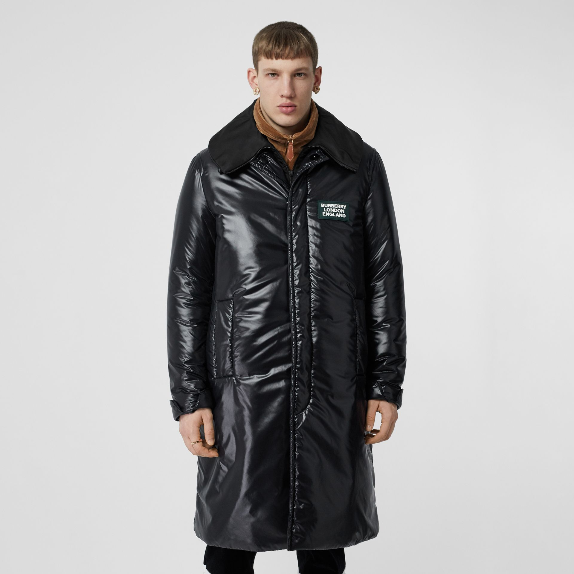 Detachable Funnel Neck Padded Nylon Car Coat in Black - Men | Burberry - gallery image 4