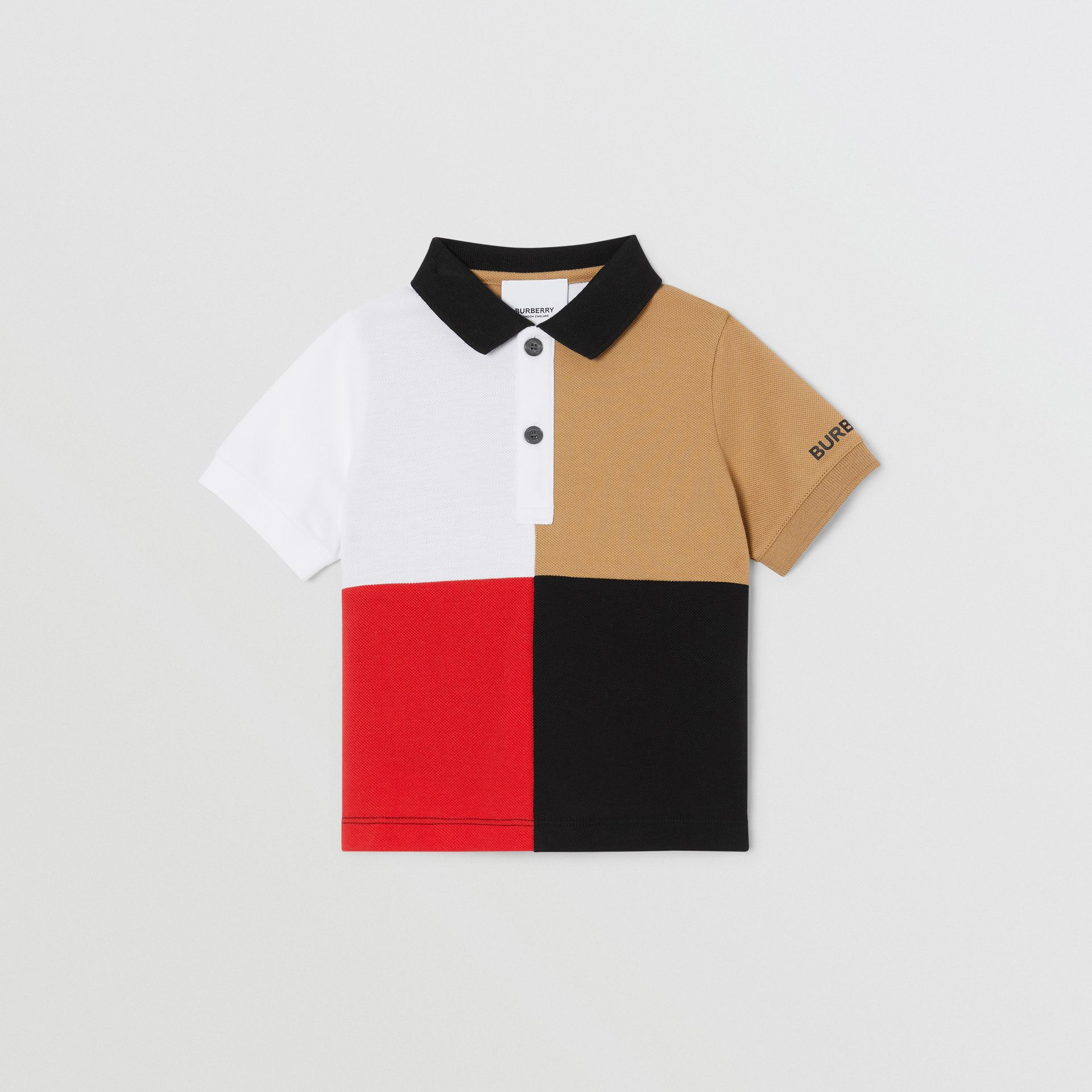 Colour Block Knit Cotton Polo Shirt in Archive Beige - Children | Burberry - gallery image 0