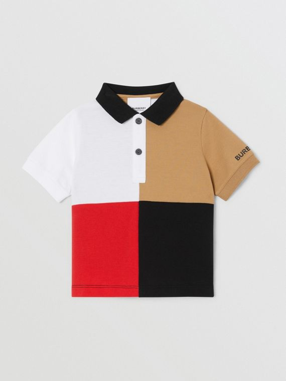 Colour Block Knit Cotton Polo Shirt in Archive Beige
