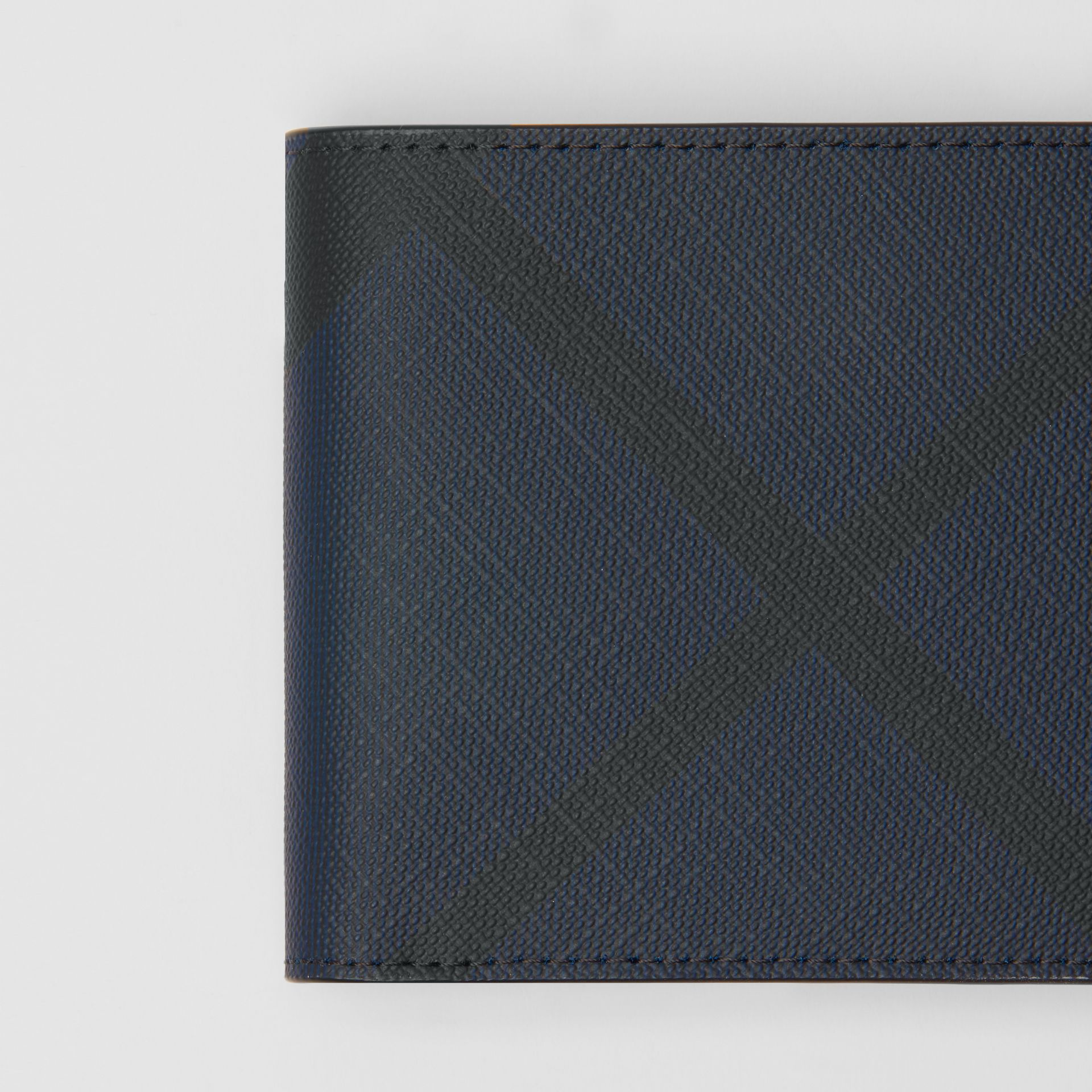 London Check Bifold Wallet with ID Card Case in Navy/black - Men | Burberry Australia - gallery image 1
