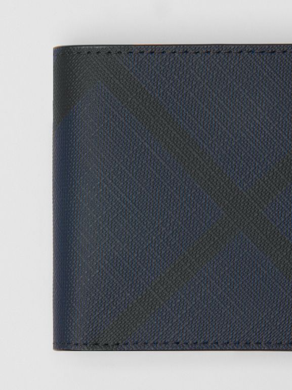 London Check Bifold Wallet with ID Card Case in Navy/black - Men | Burberry Australia - cell image 1
