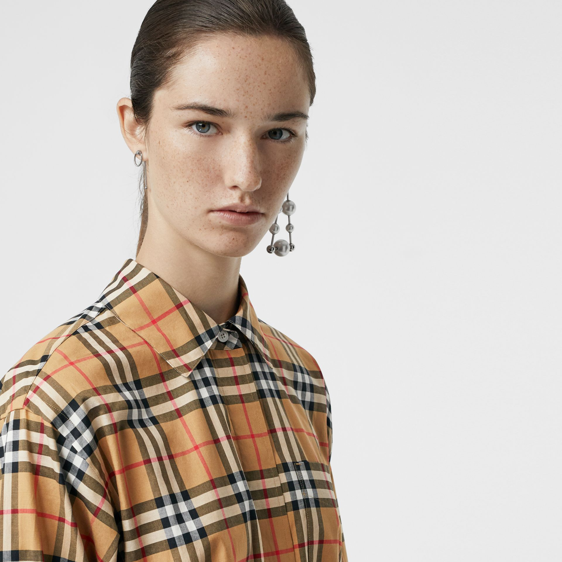 Vintage Check Cotton Tie-waist Shirt Dress in Antique Yellow | Burberry Hong Kong - gallery image 1
