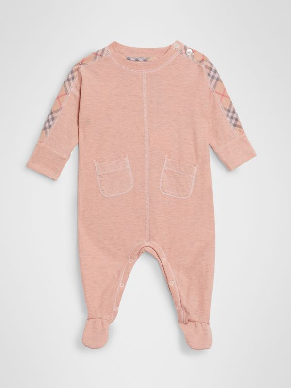 Check Cotton Three-piece Baby Gift Set in Light Rose - Children | Burberry United Kingdom - cell image 2