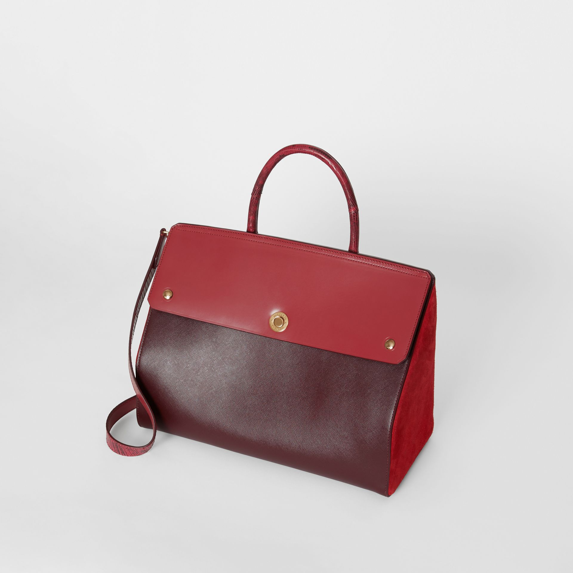 Medium Leather and Suede Elizabeth Bag in Crimson - Women | Burberry Australia - gallery image 3