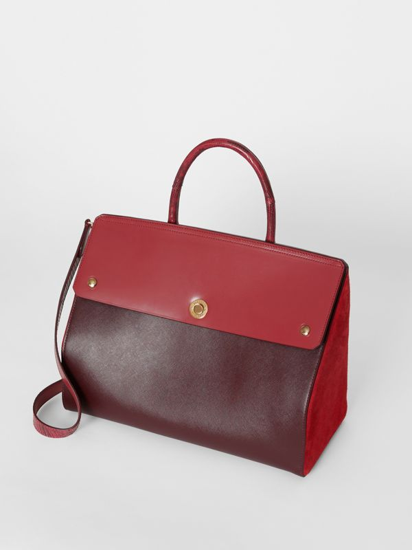 Medium Leather and Suede Elizabeth Bag in Crimson - Women | Burberry - cell image 3