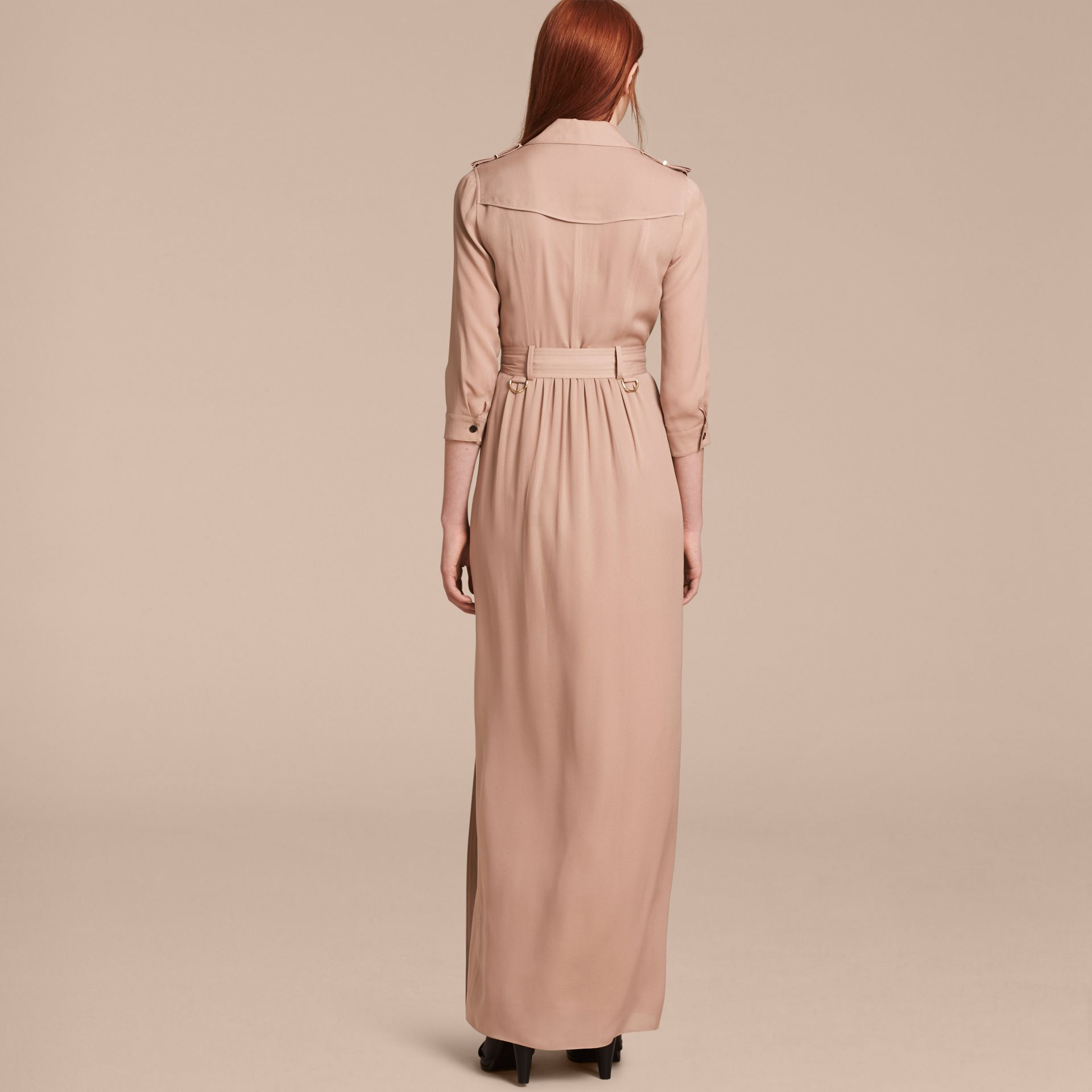Silk Trench Dress in Nude - Women | Burberry - gallery image 3