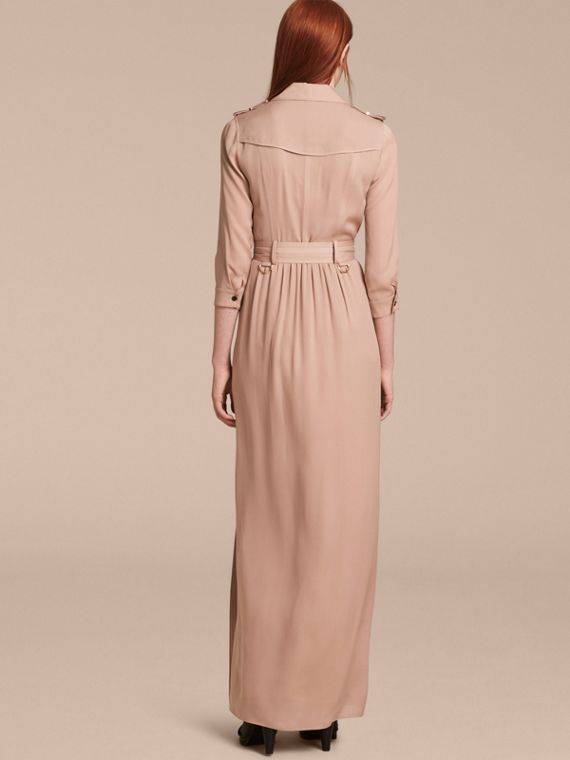 Silk Trench Dress in Nude - Women | Burberry - cell image 2