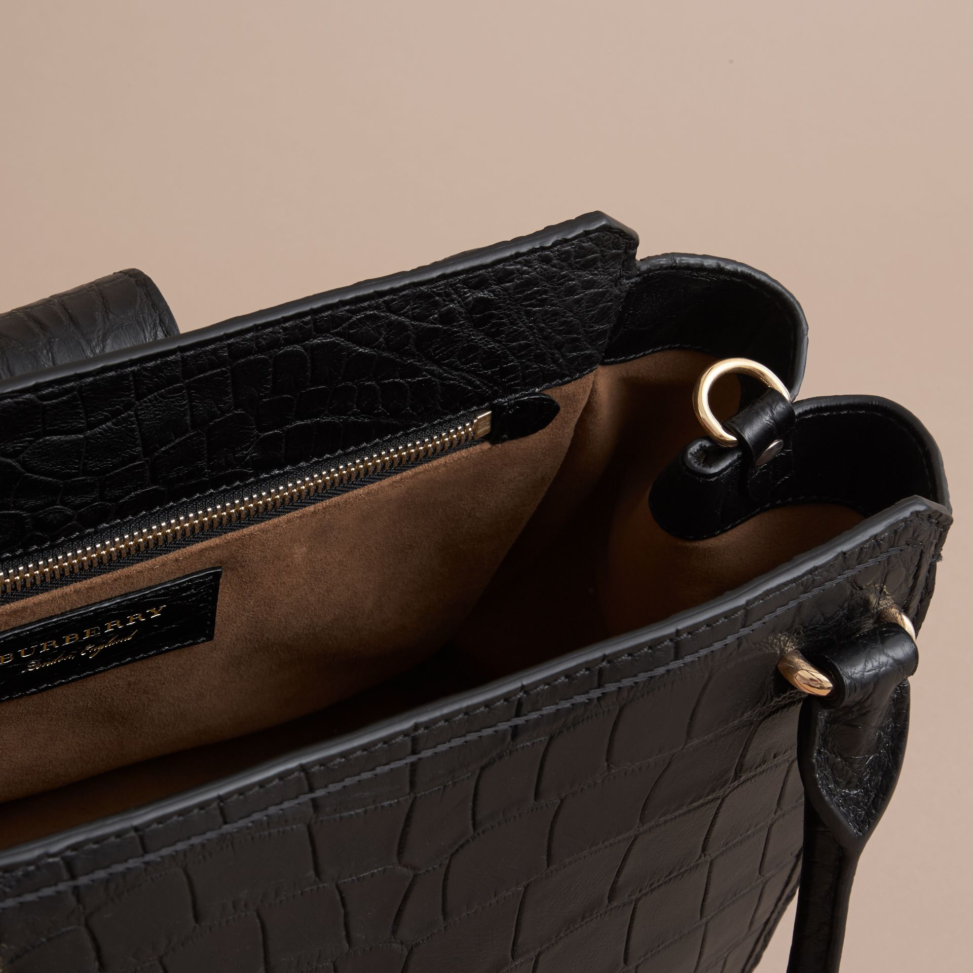 The Medium Buckle Tote in Alligator in Black - Women | Burberry United Kingdom - gallery image 4