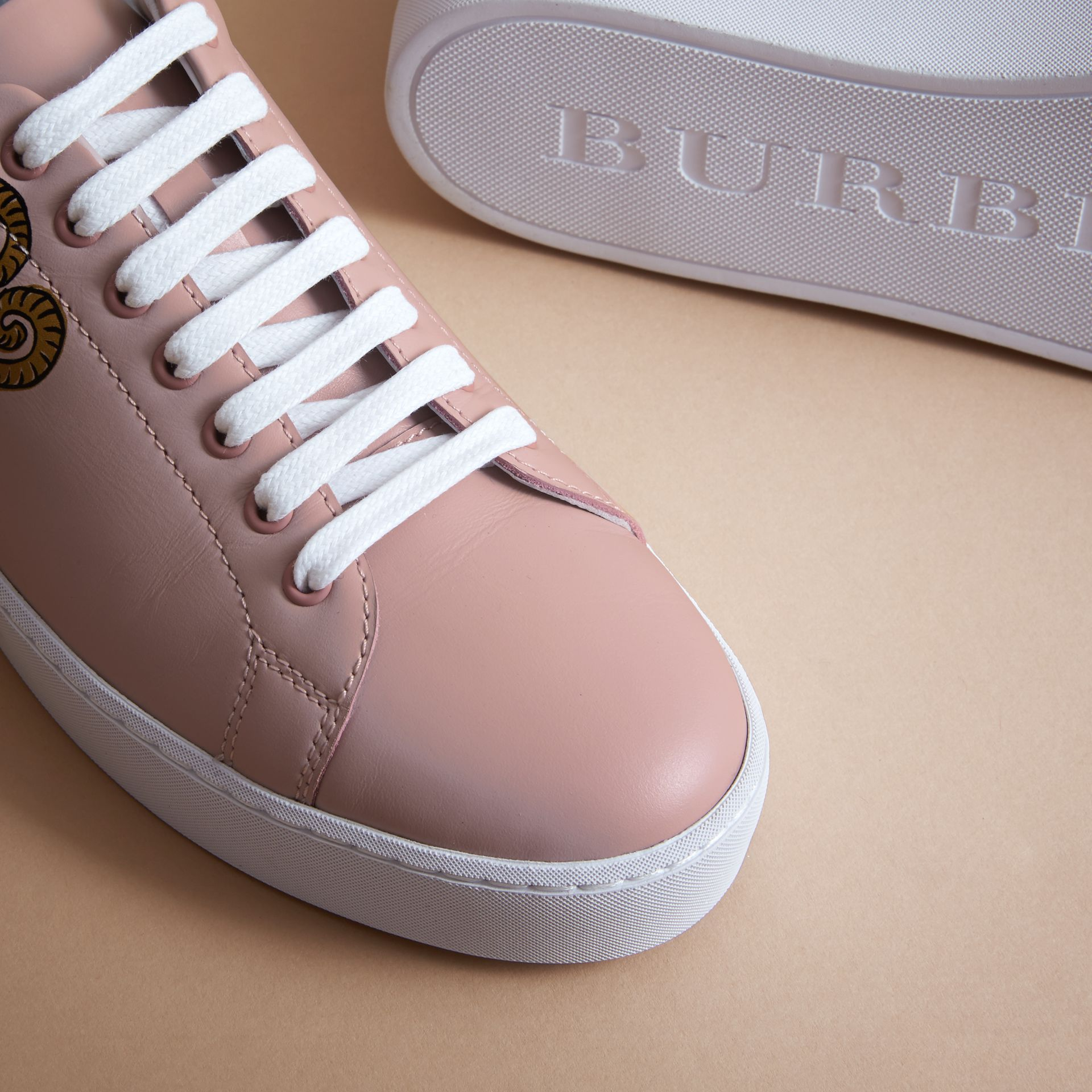 Beasts Print Leather Trainers in Ivory Pink - Women | Burberry - gallery image 5