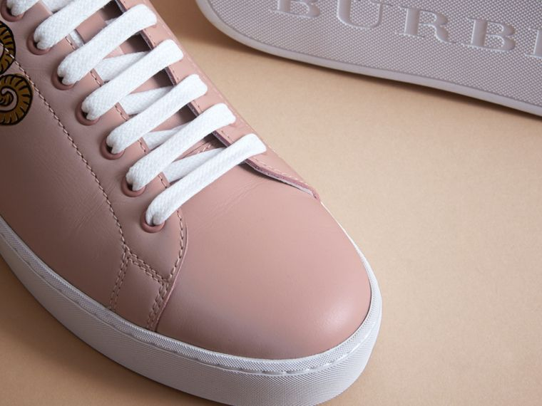 Beasts Print Leather Trainers in Ivory Pink - Women | Burberry Australia - cell image 4