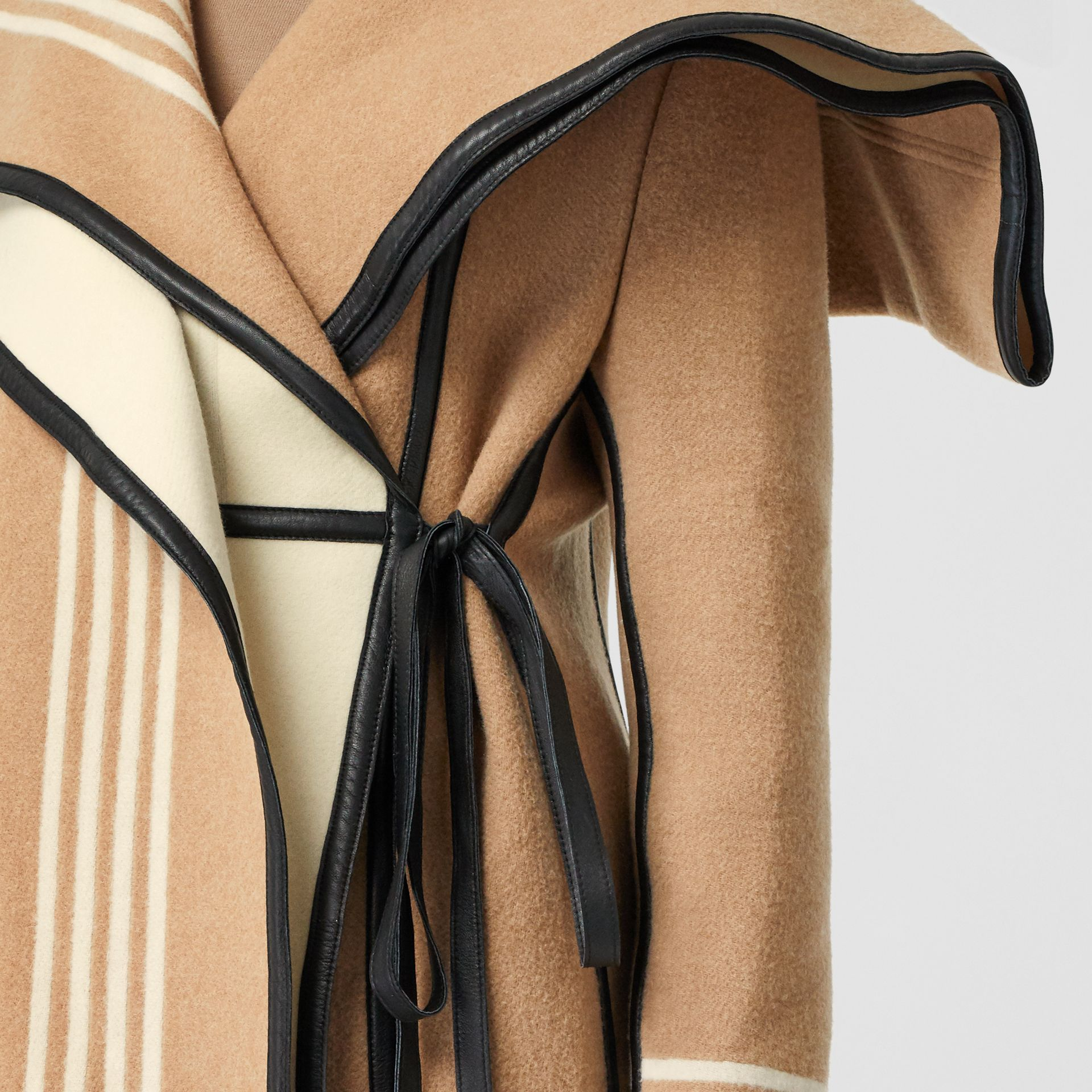 Lambskin Trim Striped Wool Wrap Coat in Camel - Women | Burberry - gallery image 4