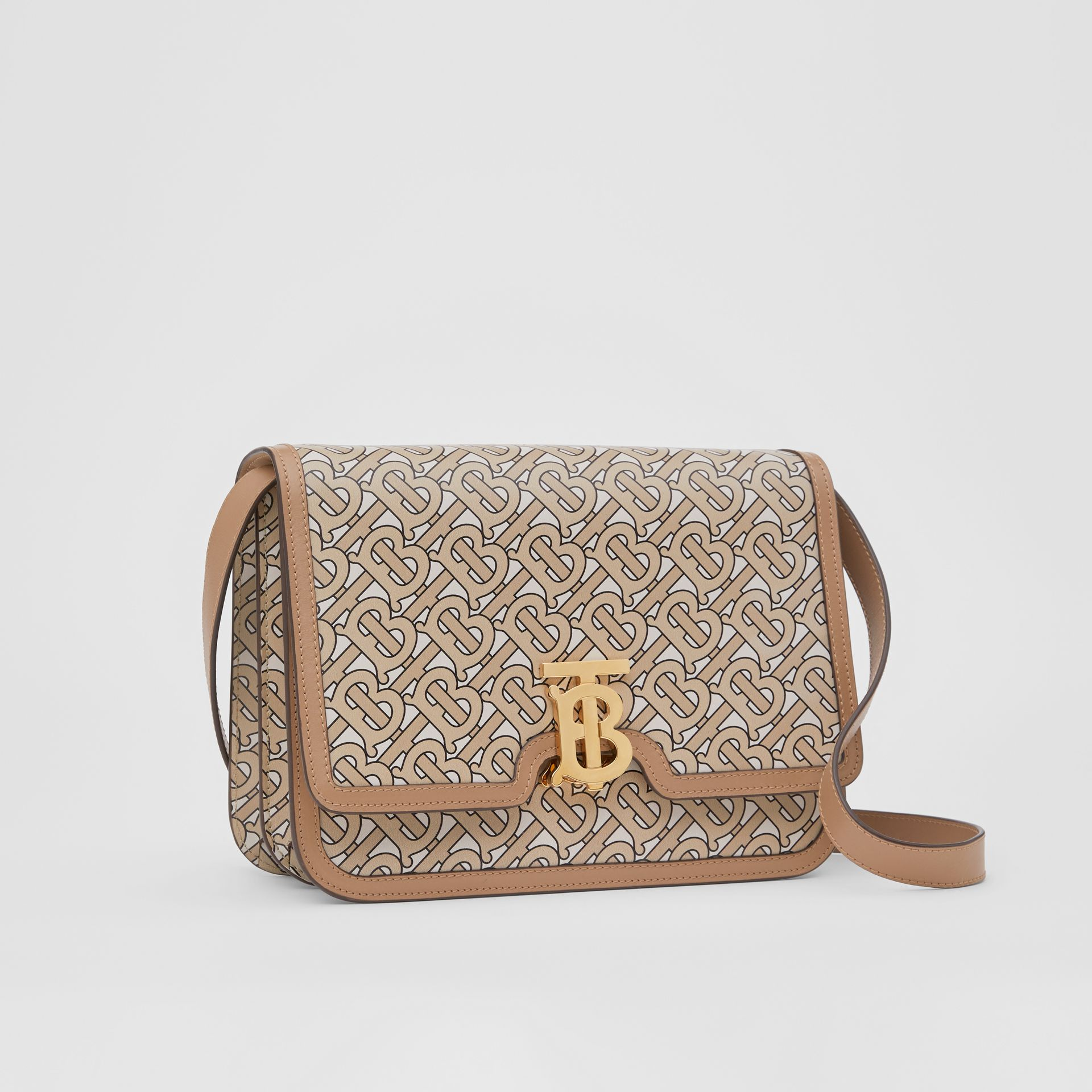 Medium Monogram Print Leather TB Bag in Beige - Women | Burberry Australia - gallery image 6