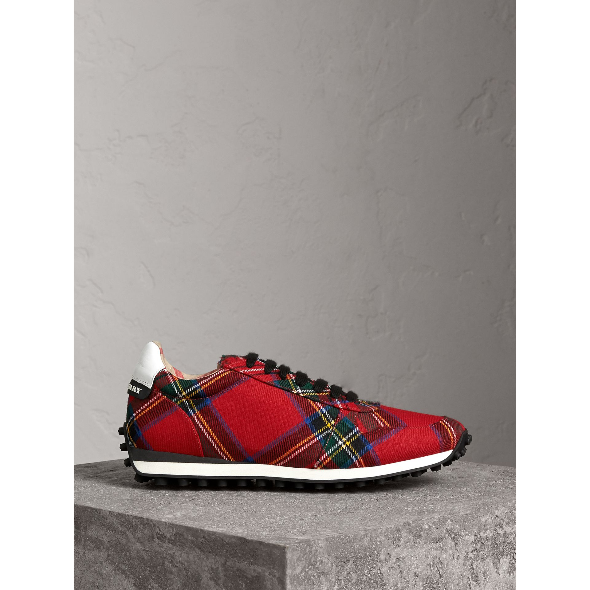 Tartan Wool Trainers in Red - Men | Burberry - gallery image 4