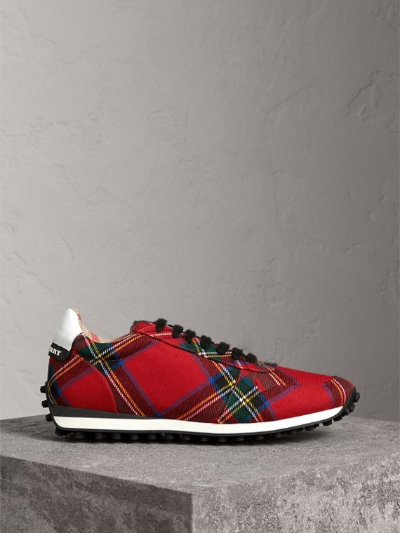 Tartan Wool Trainers in Red - Men | Burberry - cell image 3