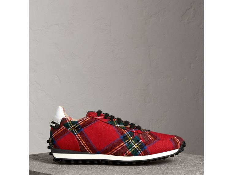 Tartan Wool Trainers in Red - Men | Burberry - cell image 4