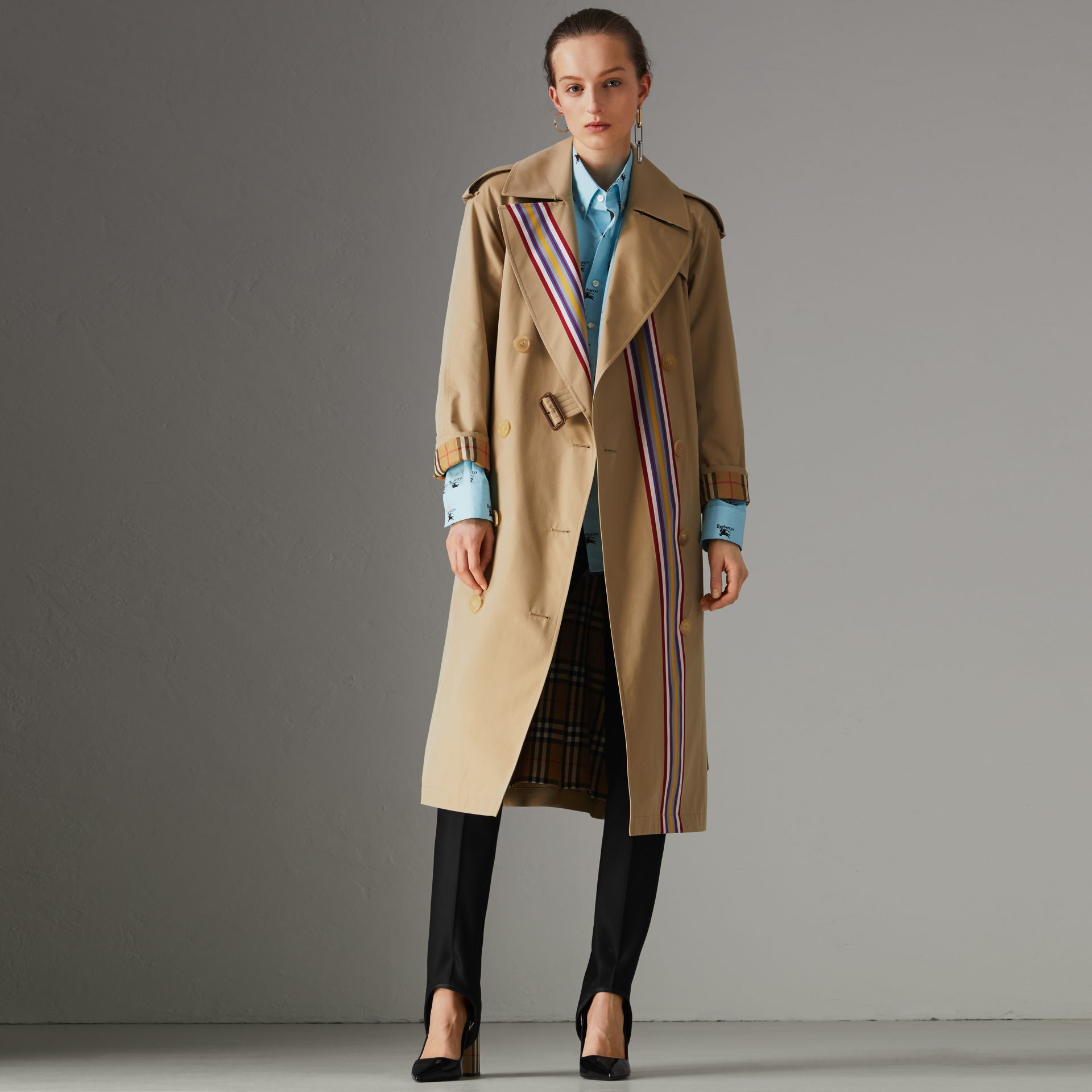 Striped Ribbon Gabardine Oversized Trench Coat in Honey - Women | Burberry United Kingdom - gallery image 0