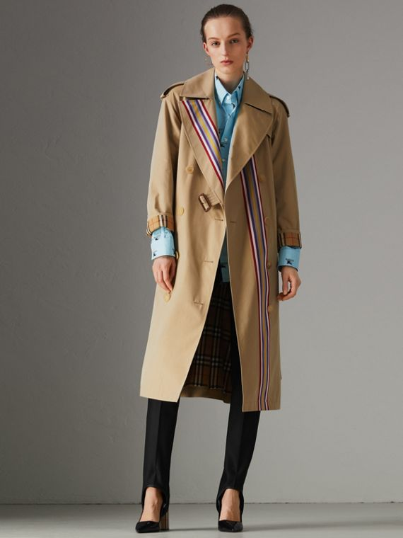 Striped Ribbon Cotton Gabardine Trench Coat in Honey
