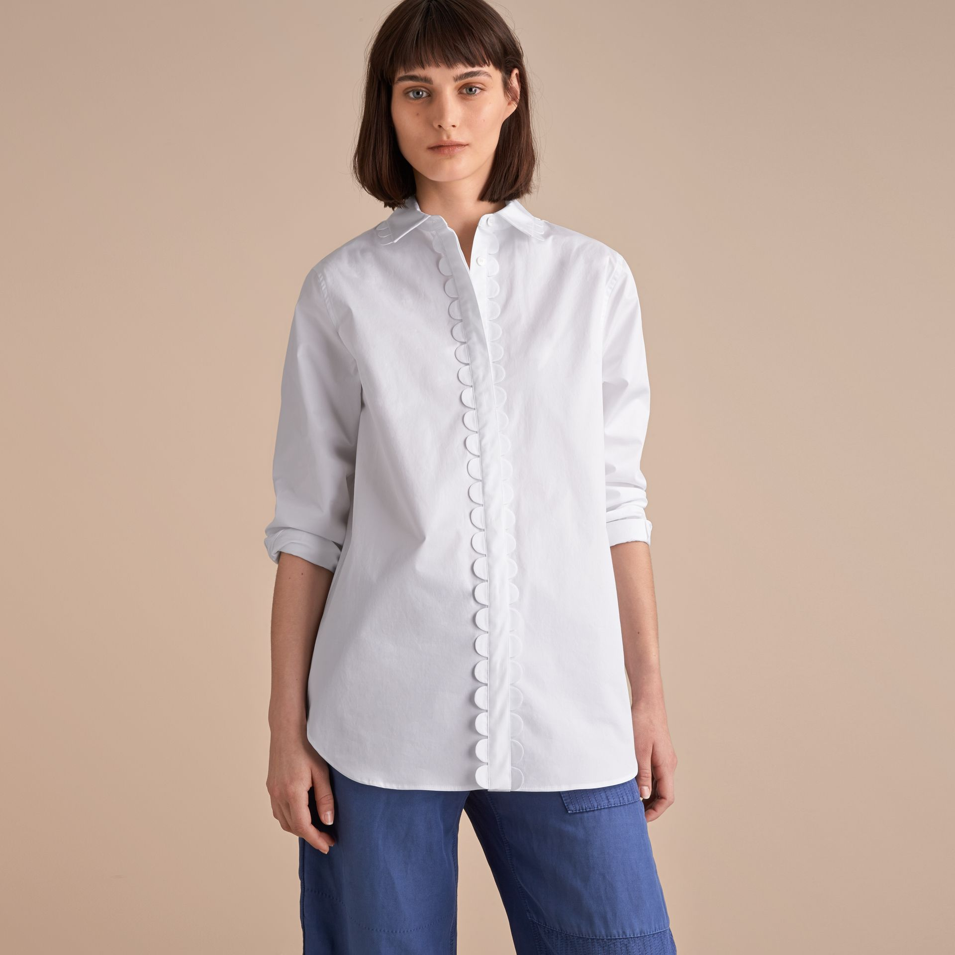 Scalloped Stretch Cotton Shirt - gallery image 6