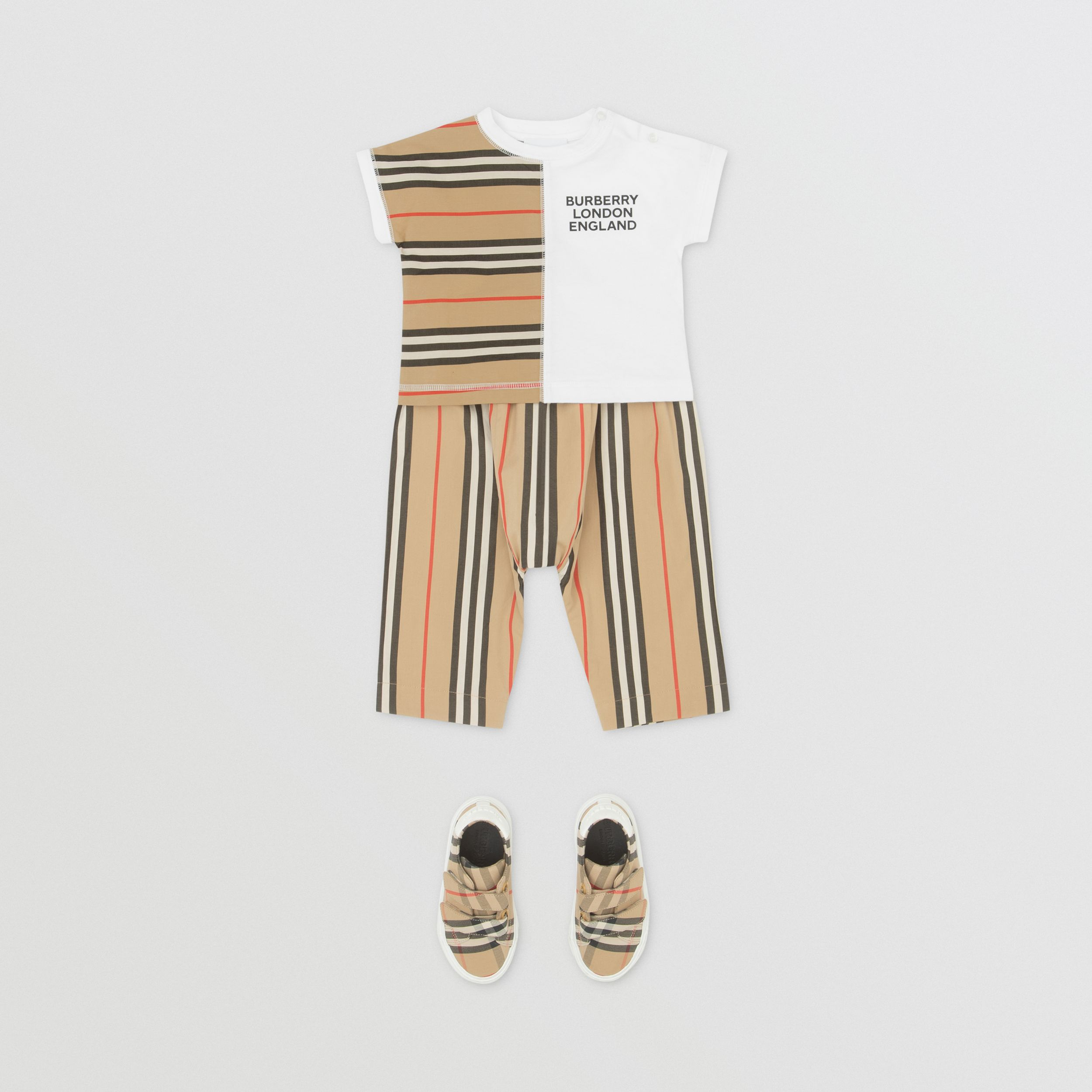 Icon Stripe Panel Cotton T-shirt in White - Children | Burberry - 3