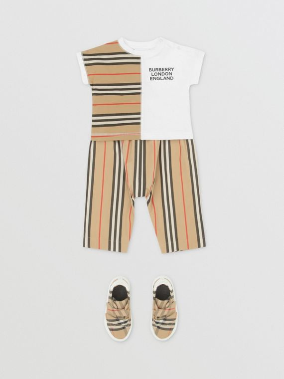Icon Stripe Panel Cotton T-shirt in White