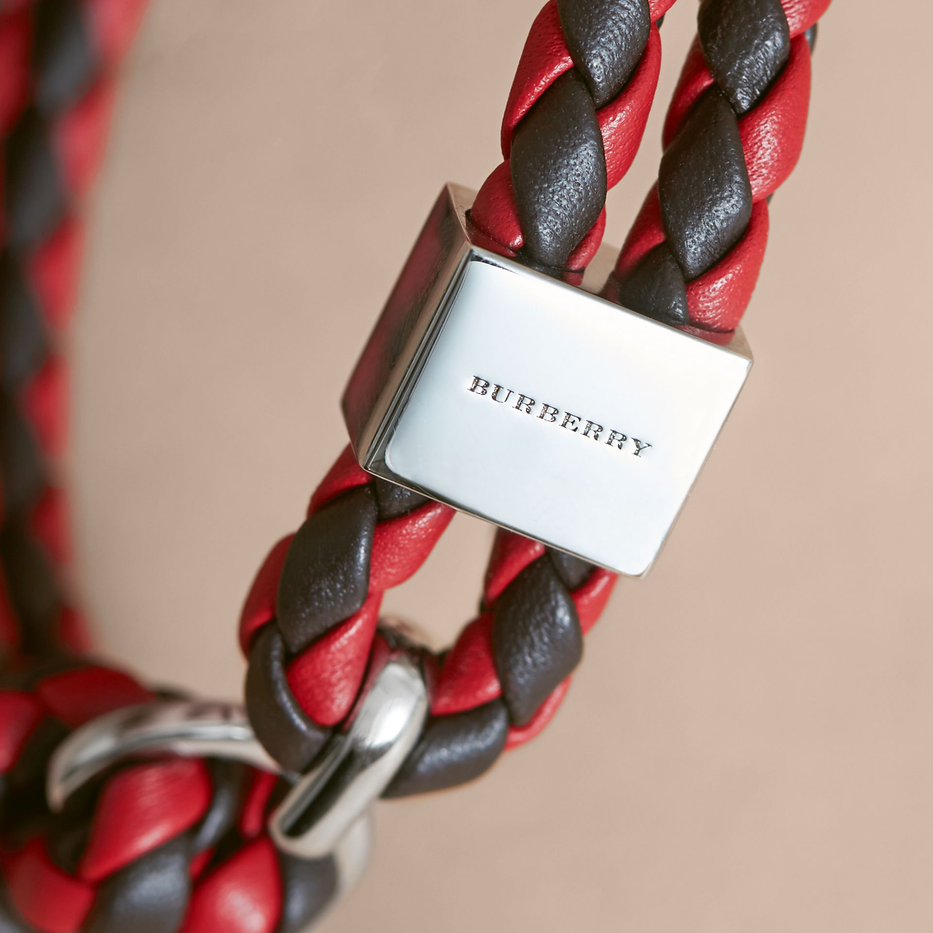 Two-tone Braided Leather Bracelet in Peppercorn/coral Red - Men | Burberry United Kingdom - gallery image 2