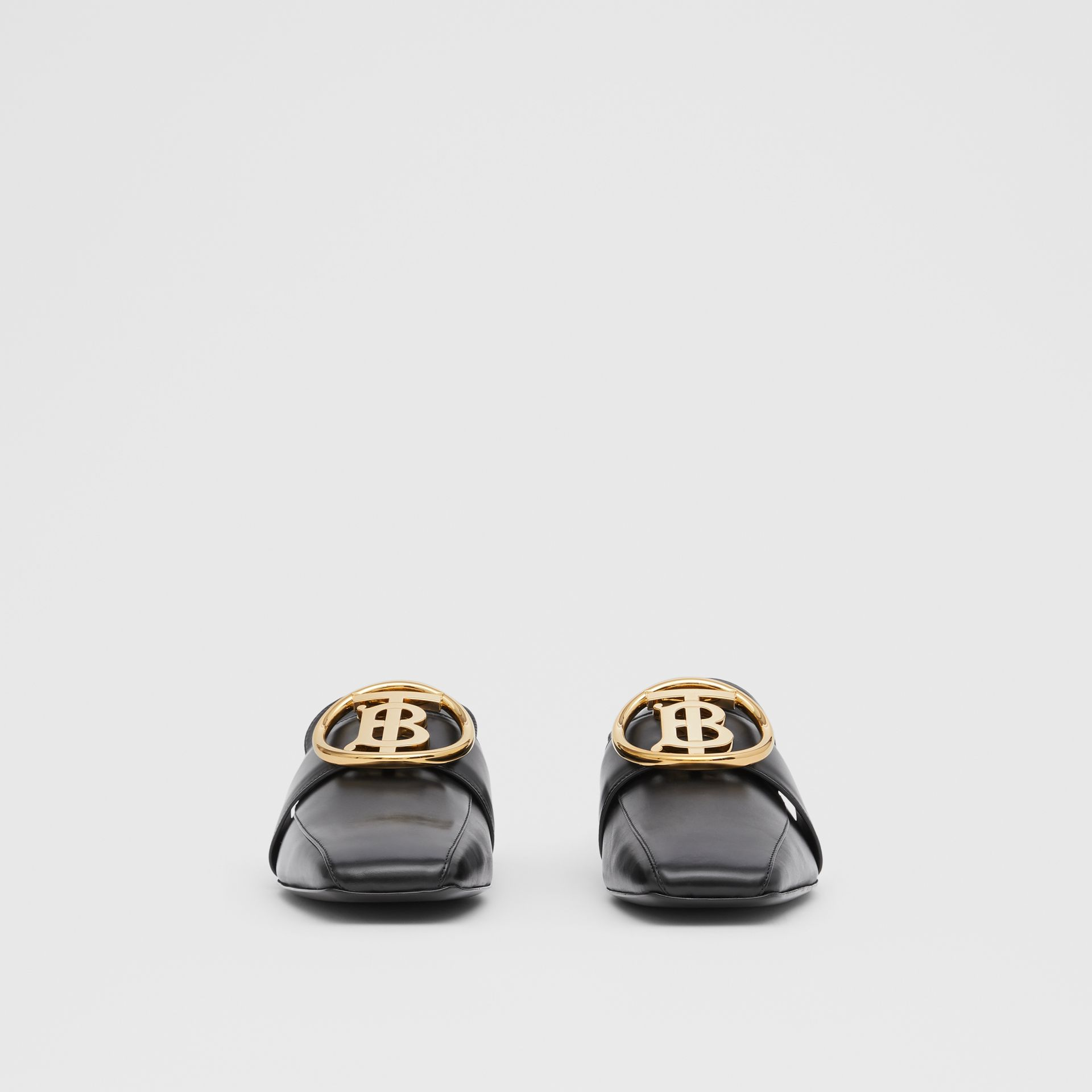 Monogram Motif Leather Loafers in Black - Women | Burberry - gallery image 3