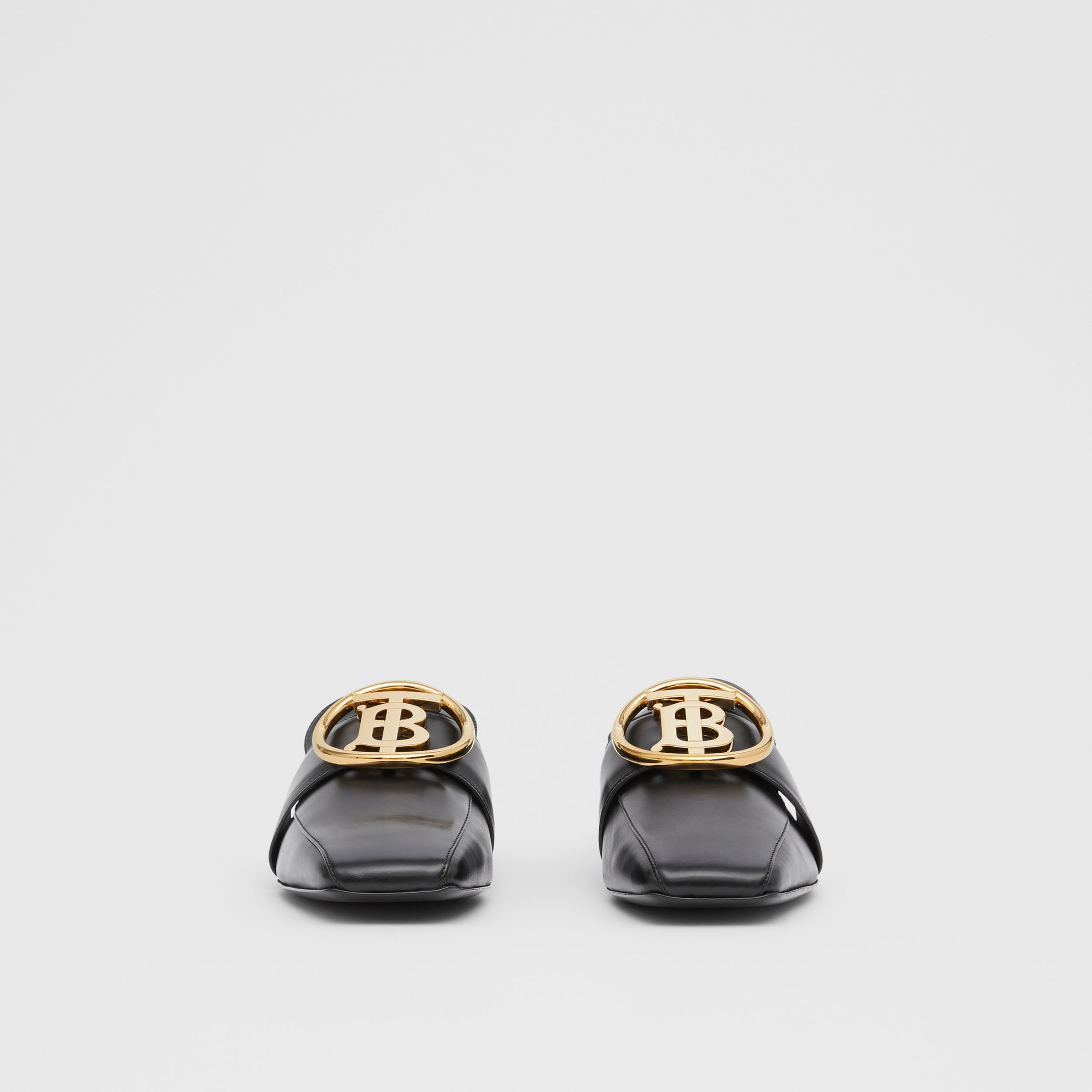 Monogram Motif Leather Loafers in Black - Women | Burberry United States - 4