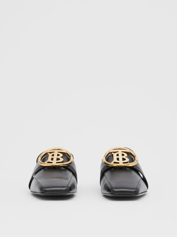 Monogram Motif Leather Loafers in Black - Women | Burberry - cell image 3