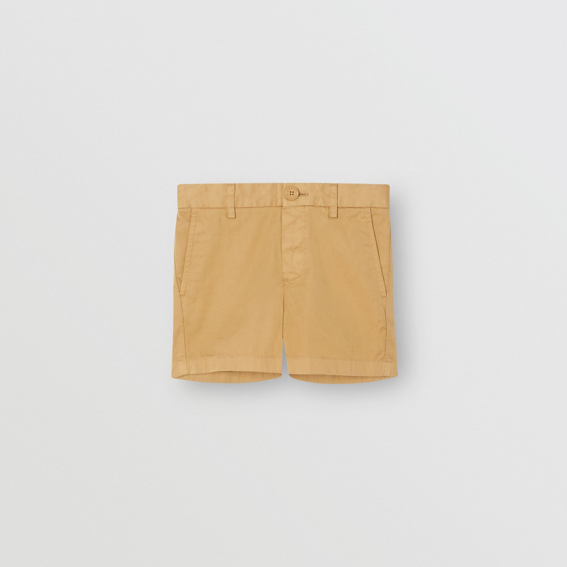 Cotton Chino Shorts in Taupe - Children | Burberry - gallery image 0