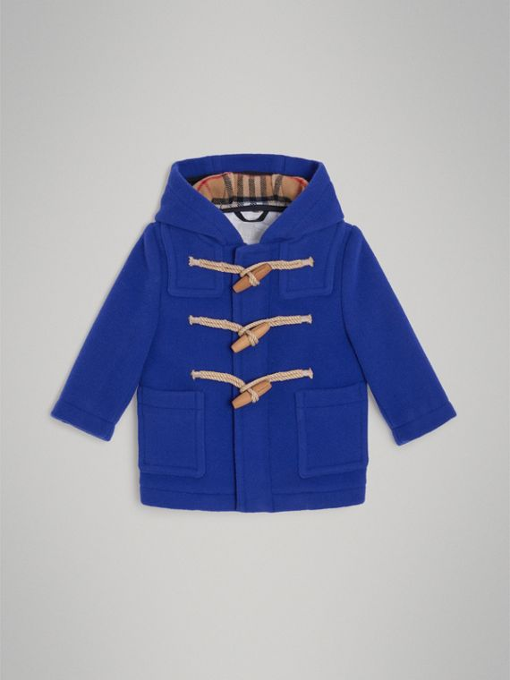 Boiled Wool Duffle Coat in Brilliant Blue