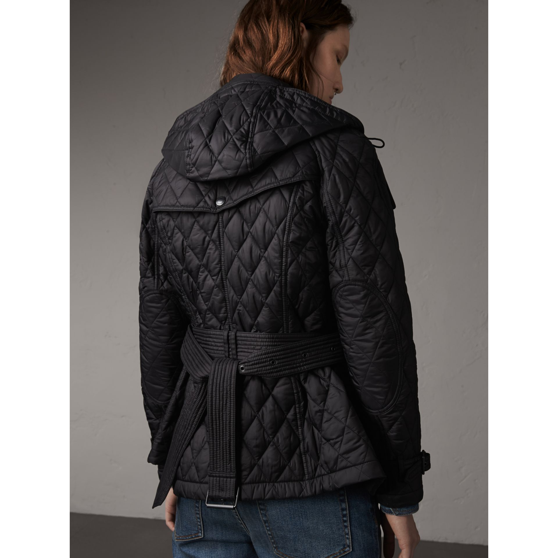 Quilted Trench Jacket with Detachable Hood in Black - Women | Burberry - gallery image 3