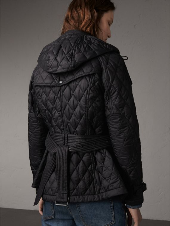 Quilted Trench Jacket with Detachable Hood in Black - Women | Burberry Singapore - cell image 2