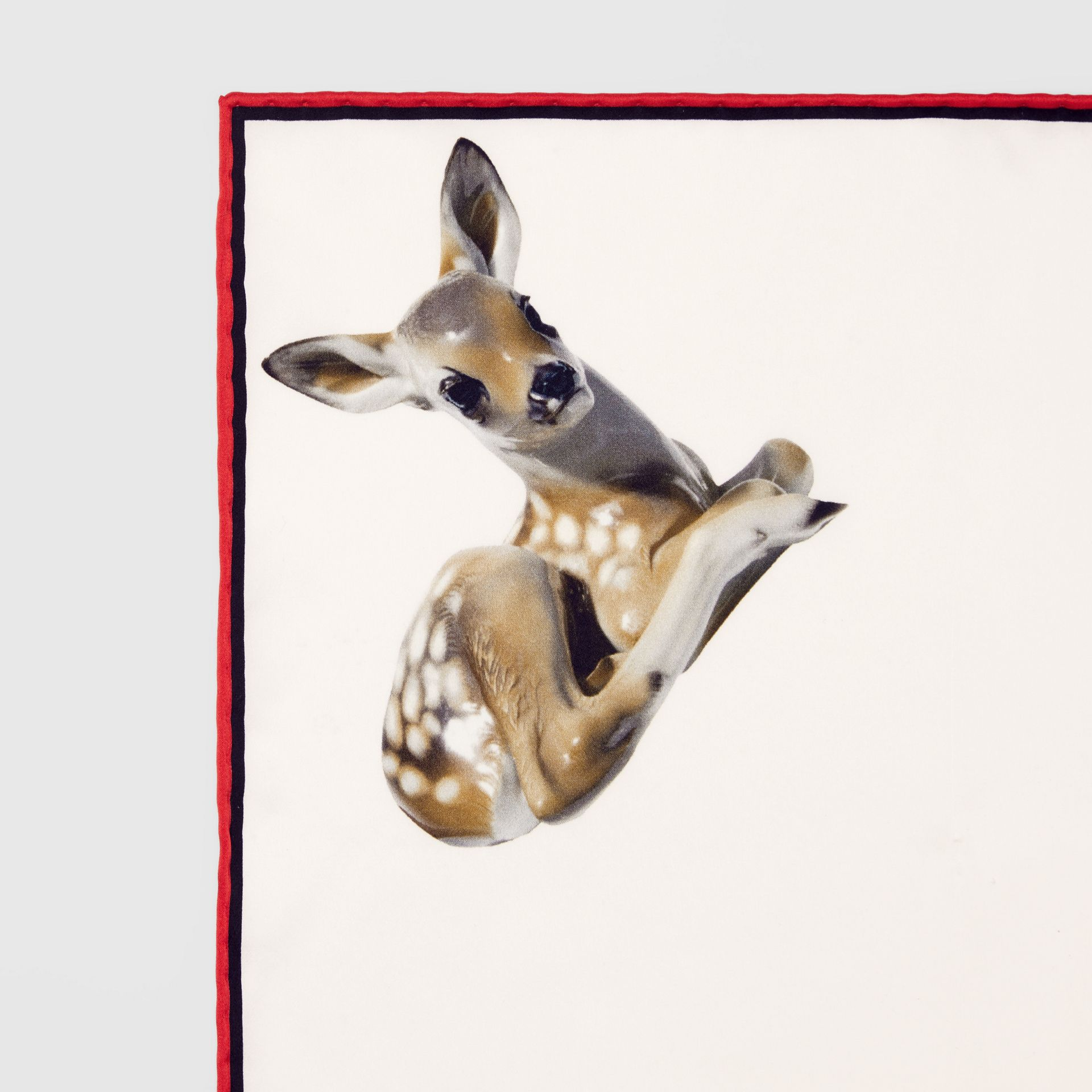 Deer Print Silk Pocket Square in White - Men | Burberry - gallery image 1