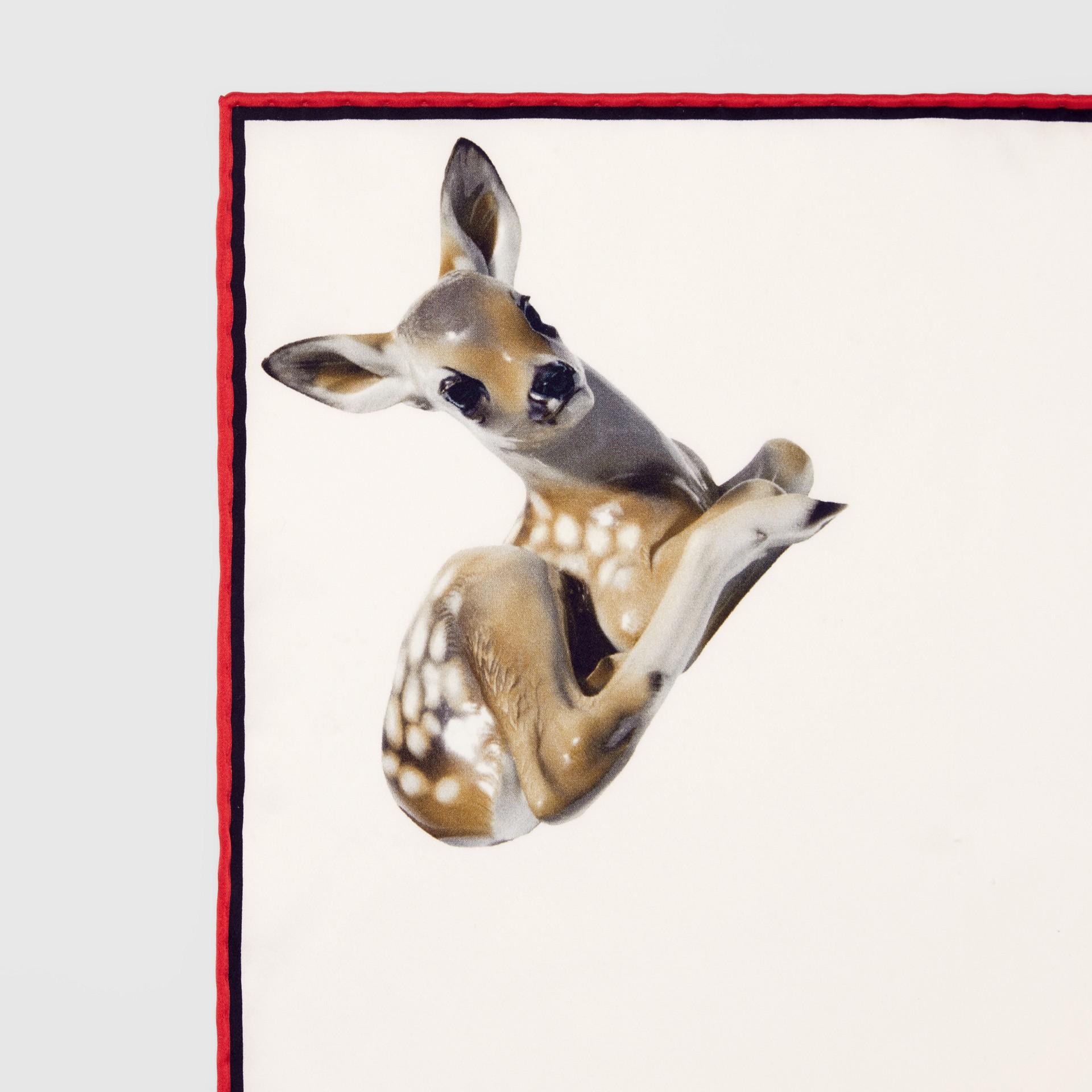 Deer Print Silk Pocket Square in White - Men | Burberry United Kingdom - gallery image 1