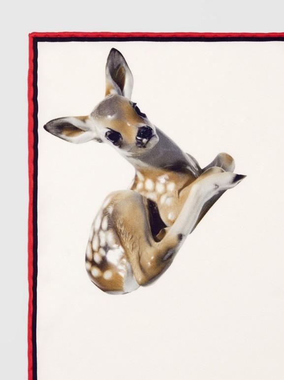 Deer Print Silk Pocket Square in White - Men | Burberry United Kingdom - cell image 1