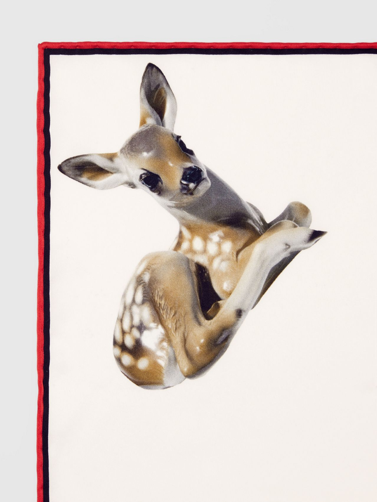 Deer Print Silk Pocket Square in White