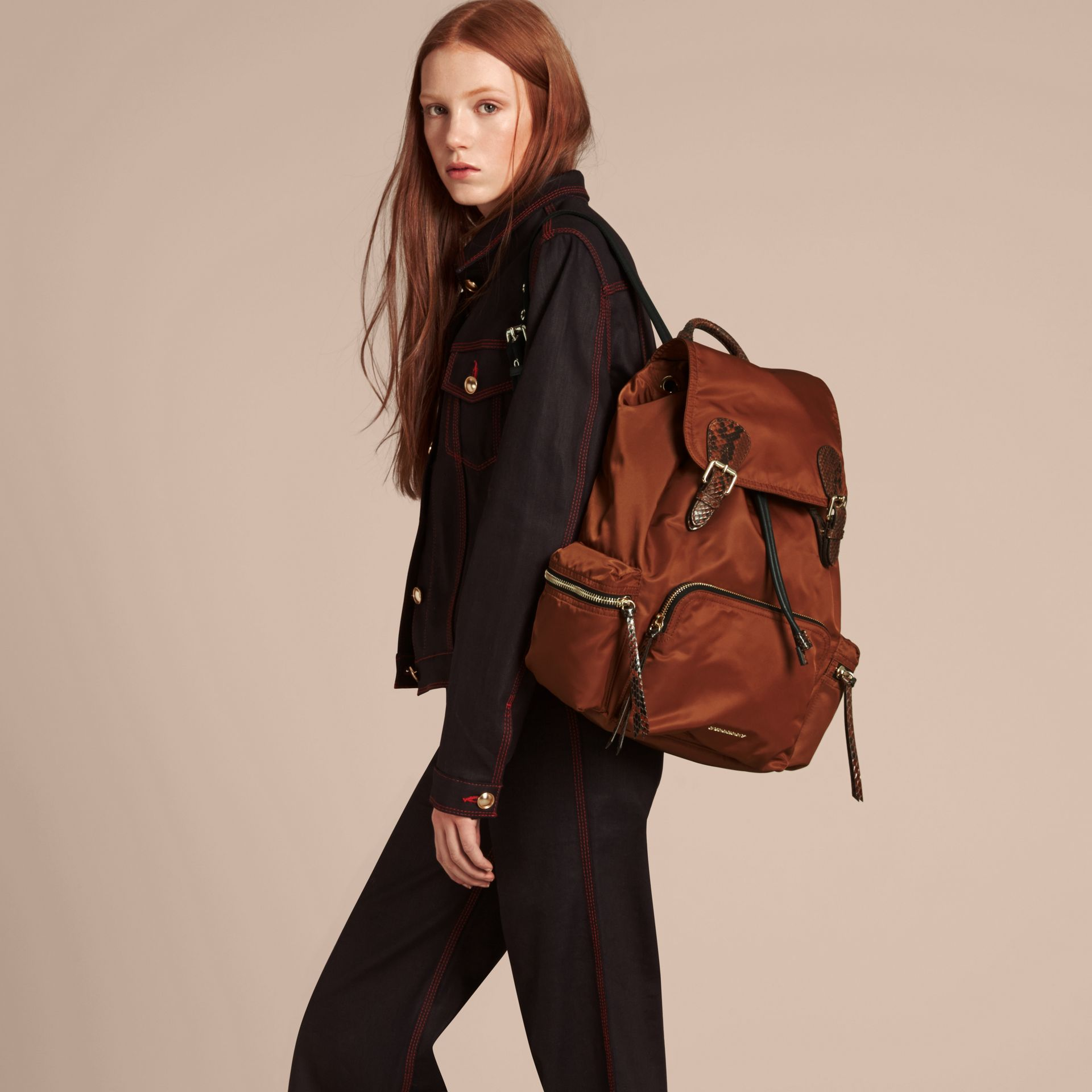 The Large Rucksack in Technical Nylon and Snakeskin in Redwood/tan - Women | Burberry - gallery image 3