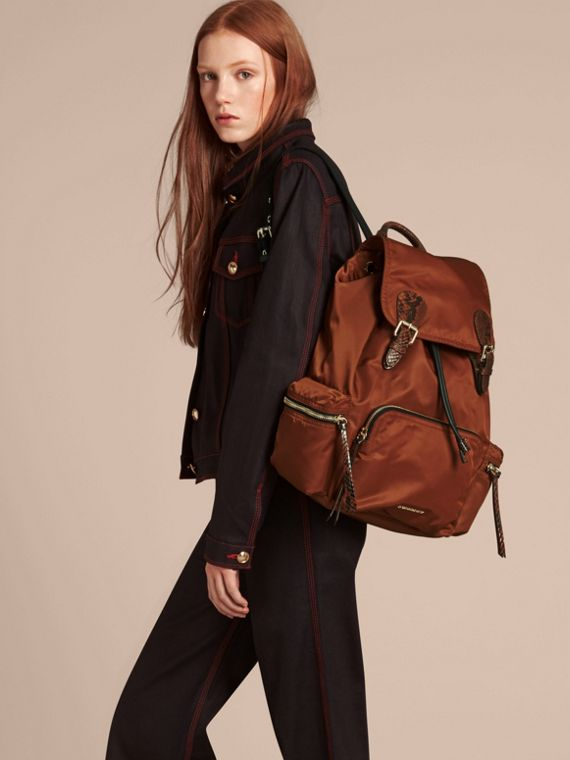 The Large Rucksack in Technical Nylon and Snakeskin in Redwood/tan - cell image 2