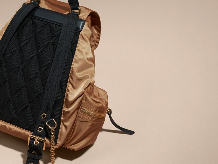 The Medium Rucksack in Technical Nylon and Leather in Light Flax - cell image 4