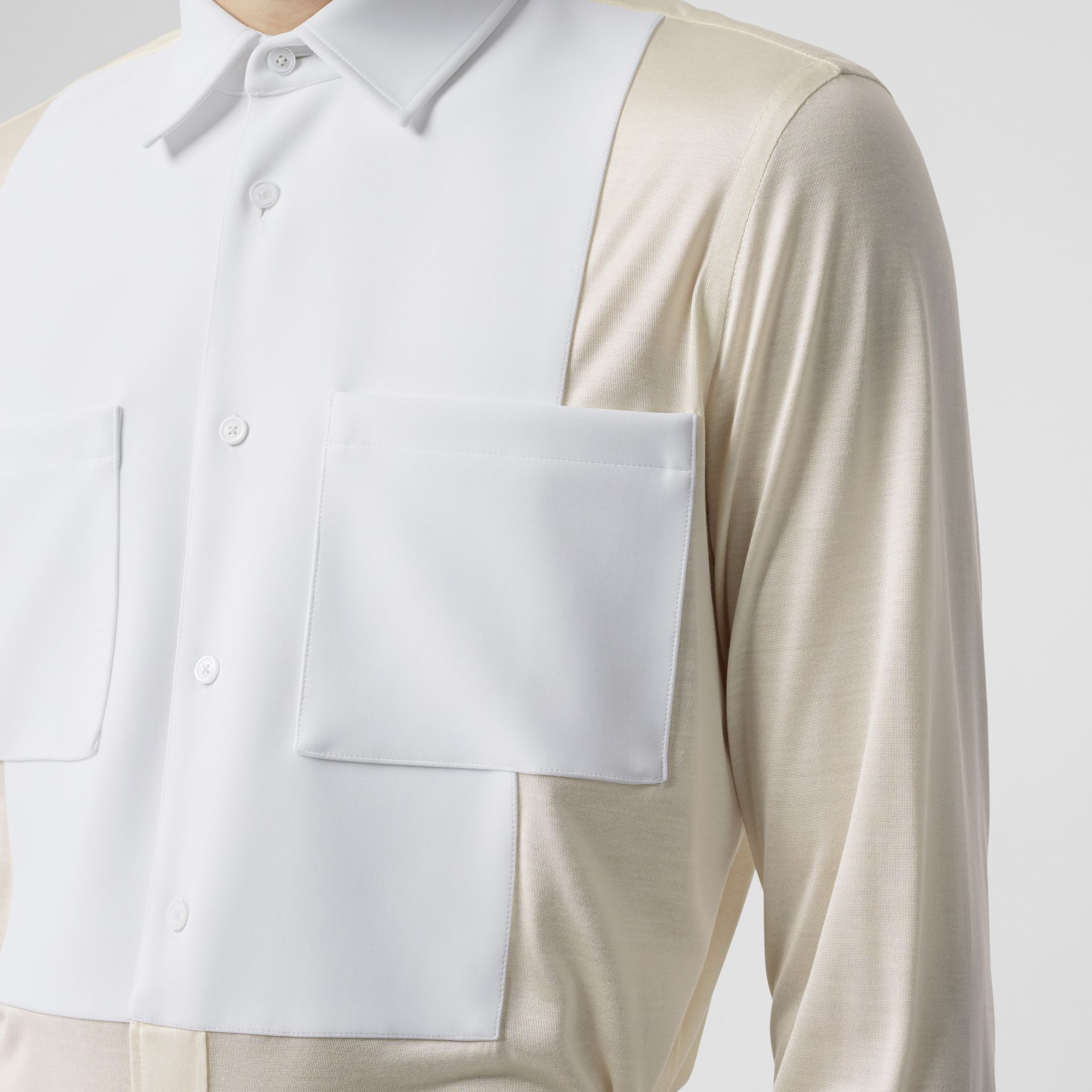 Classic Fit Neoprene Bib Silk Jersey Shirt in Natural White - Men | Burberry - gallery image 1