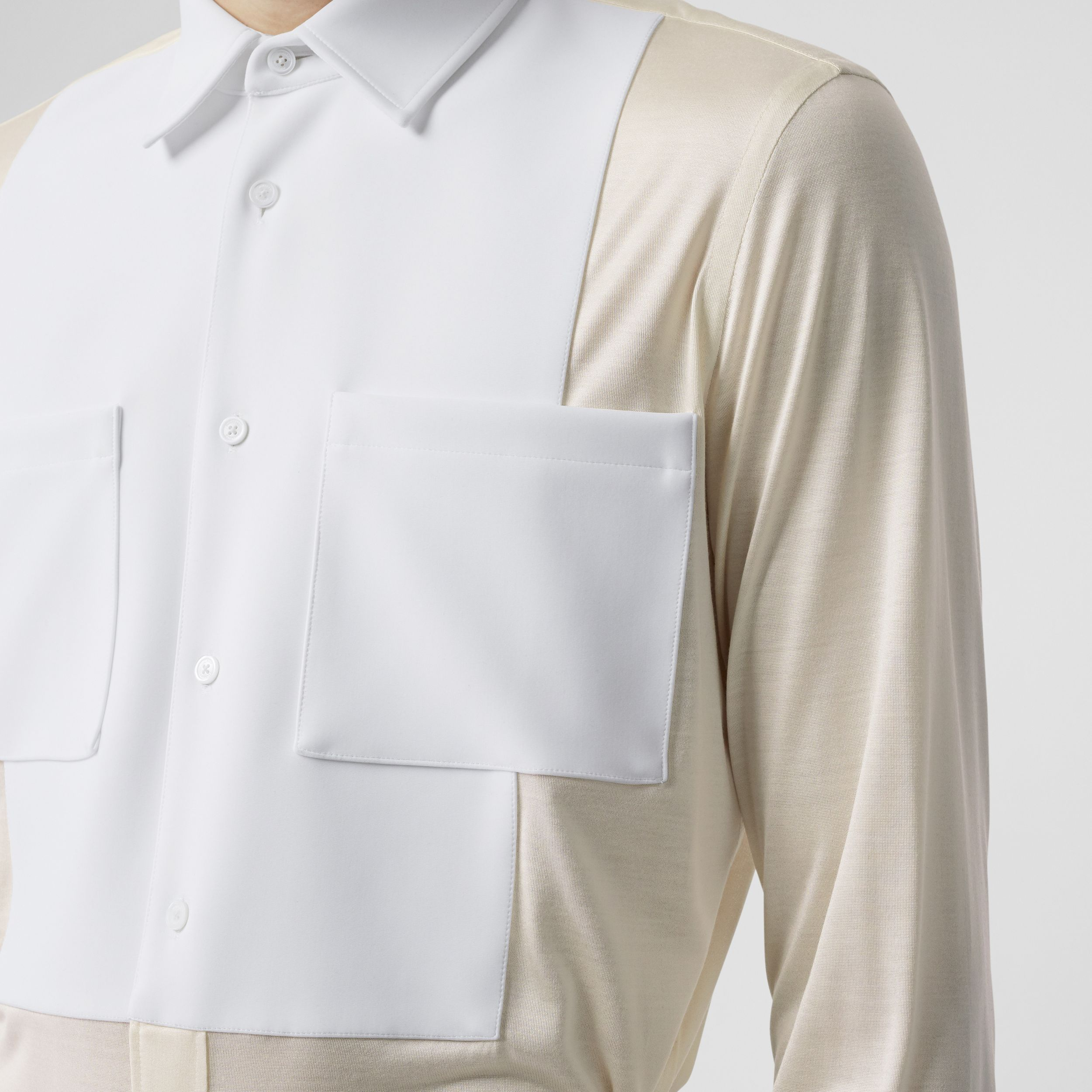 Classic Fit Neoprene Bib Silk Jersey Shirt in Natural White - Men | Burberry - 2