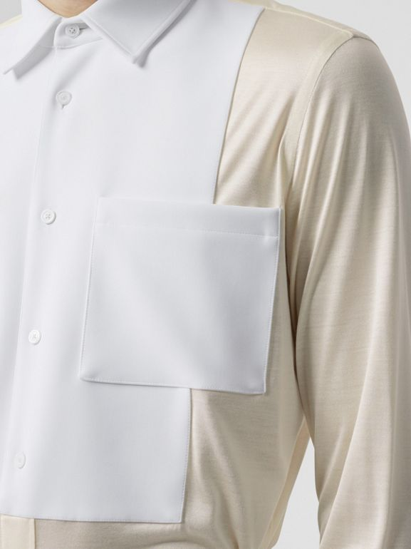 Classic Fit Neoprene Bib Silk Jersey Shirt in Natural White - Men | Burberry - cell image 1