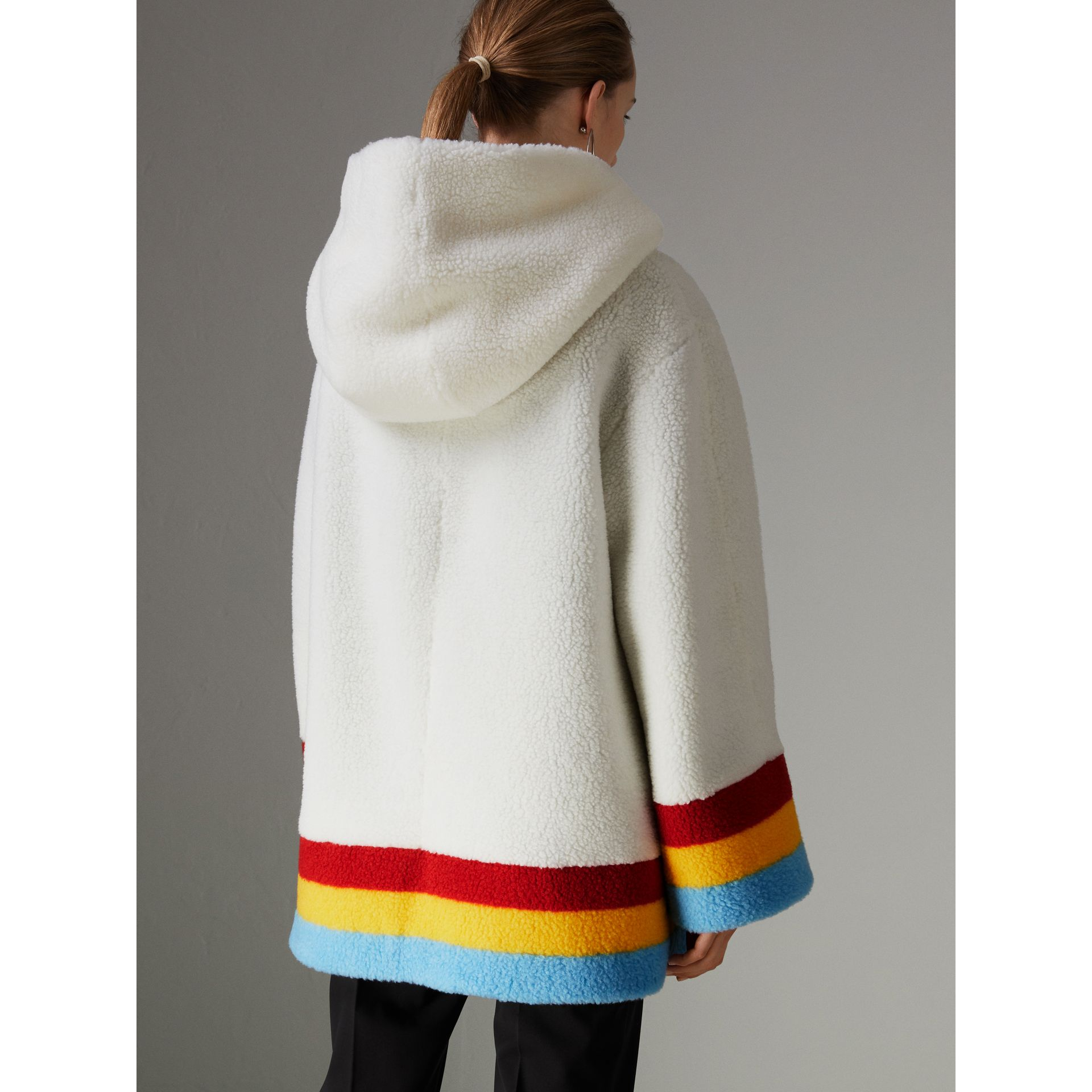 Faux Shearling Oversized Hooded Jacket in Off White - Women | Burberry - gallery image 2