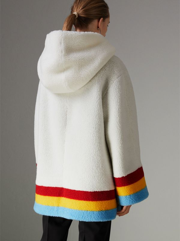 Striped Detail Faux Shearling Hooded Jacket in Off White - Women | Burberry - cell image 2