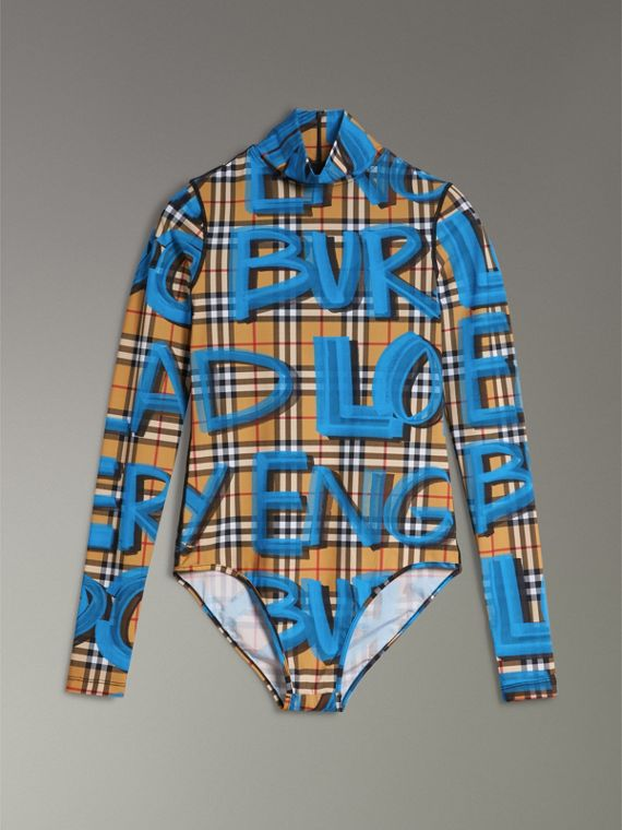 Graffiti Vintage Check Jersey Turtleneck Bodysuit in Bright Blue - Women | Burberry United States - cell image 3