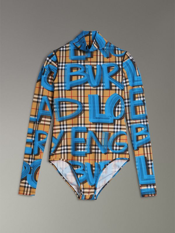 Graffiti Vintage Check Jersey Turtleneck Bodysuit in Bright Blue - Women | Burberry - cell image 3